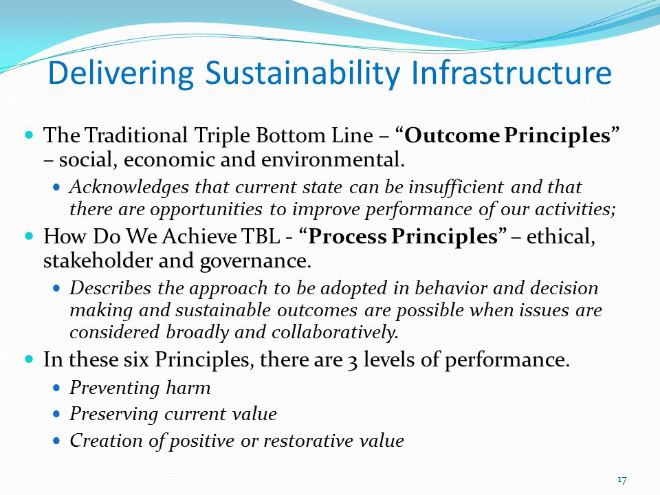 Delivering Sustainability Infrastructure