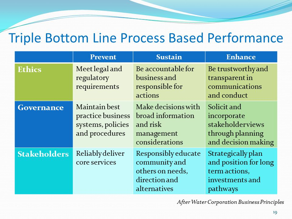 Triple Bottom Line Process Based Performance