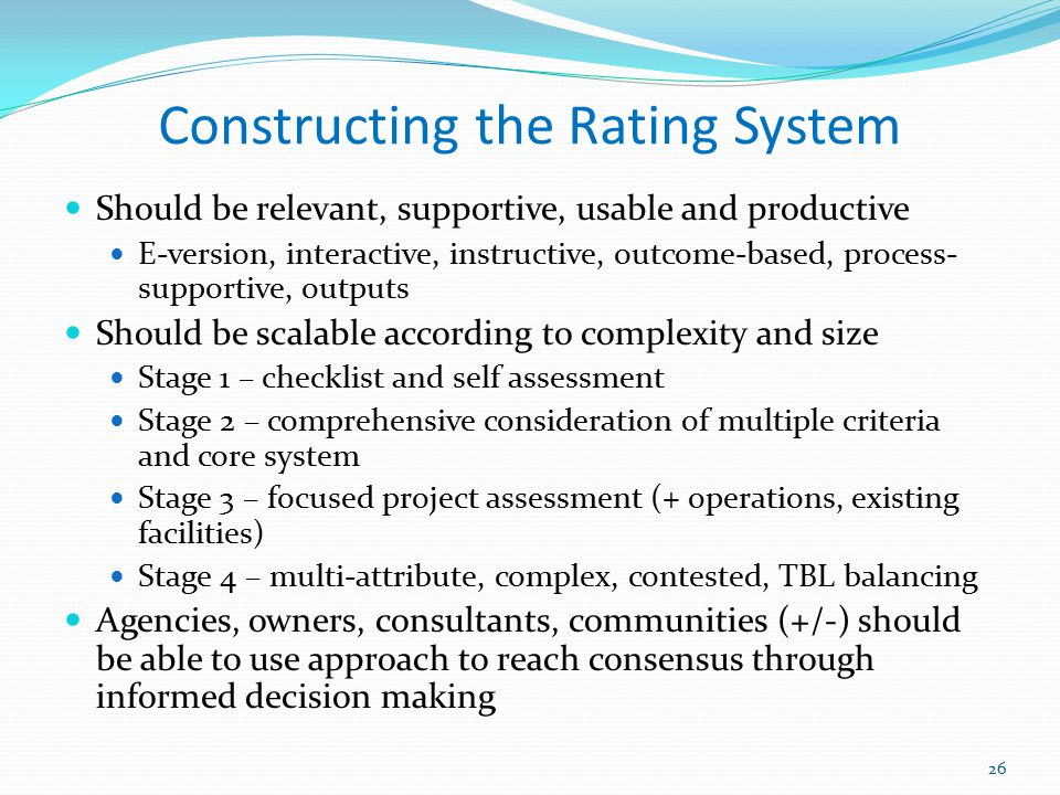 Constructing the Rating System