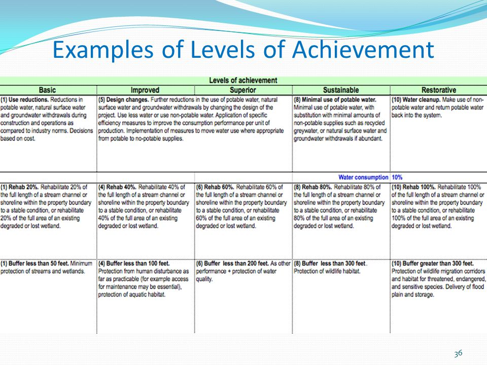 Examples of Levels of Achievement
