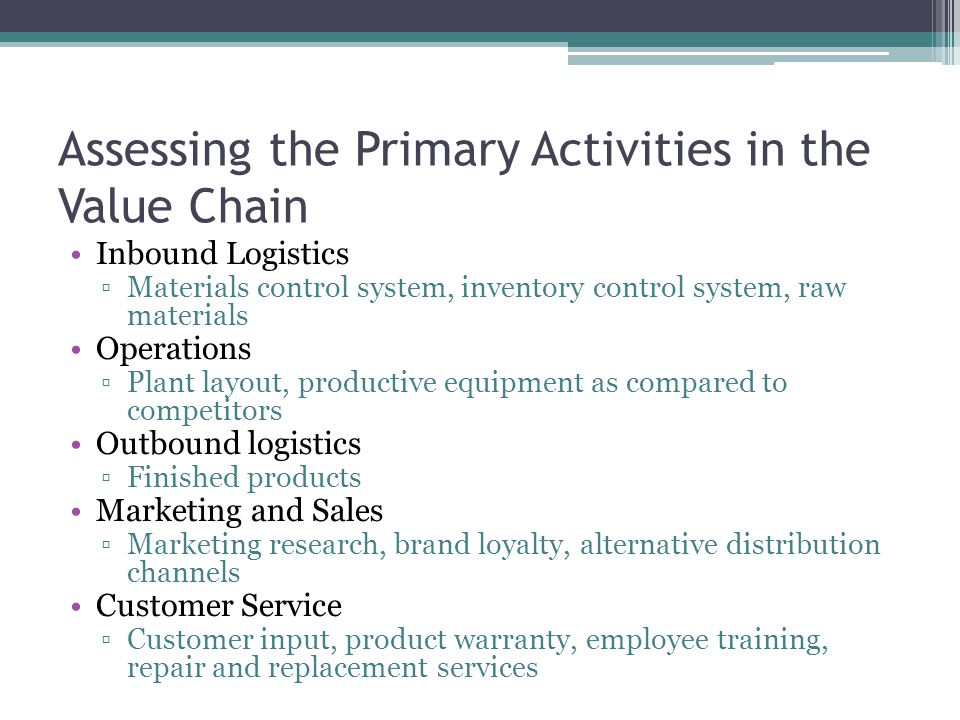 Assessing the Primary Activities in the Value Chain