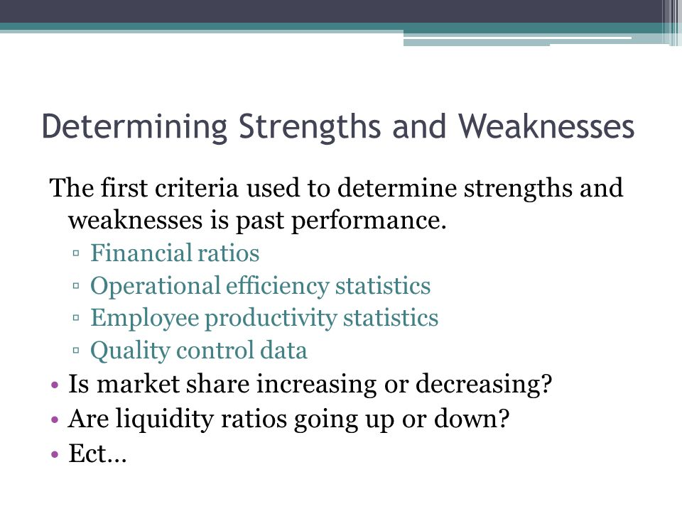 Determining Strengths and Weaknesses