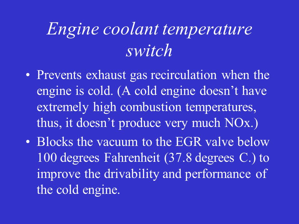 Engine coolant temperature switch