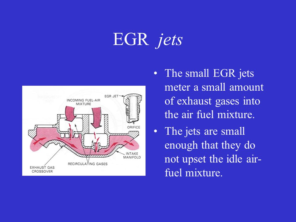 EGR jets The small EGR jets meter a small amount of exhaust gases into the air fuel mixture.