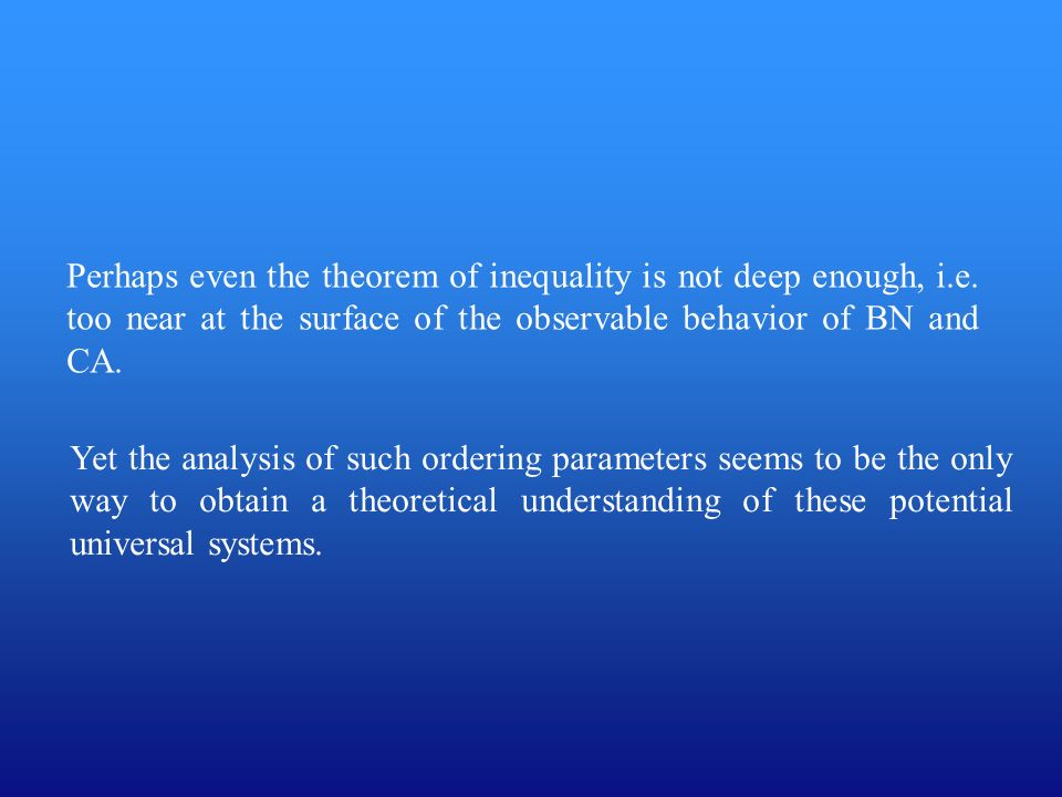 Perhaps even the theorem of inequality is not deep enough, i. e
