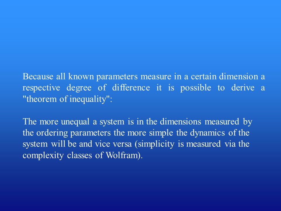 Because all known parameters measure in a certain dimension a respective degree of difference it is possible to derive a theorem of inequality :
