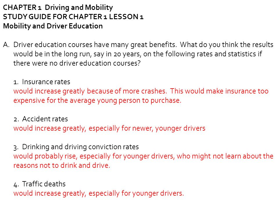 drivers ed packet answers chapter 5