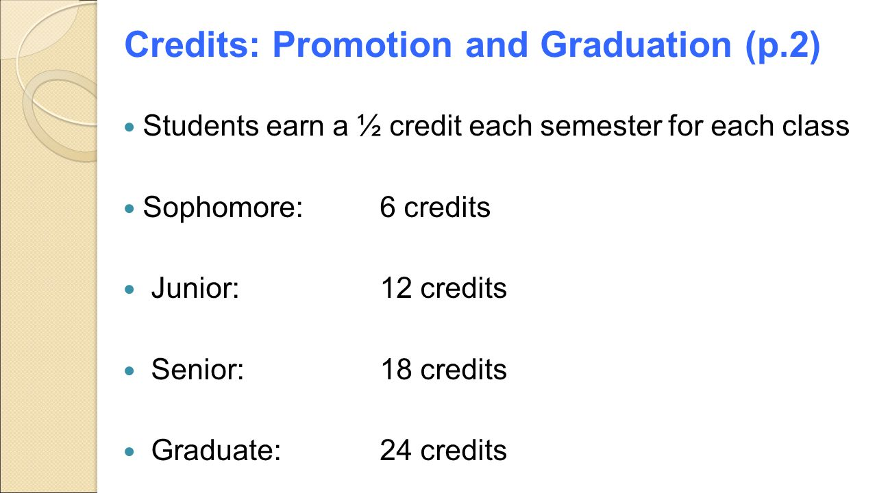 Credits: Promotion and Graduation (p.2)