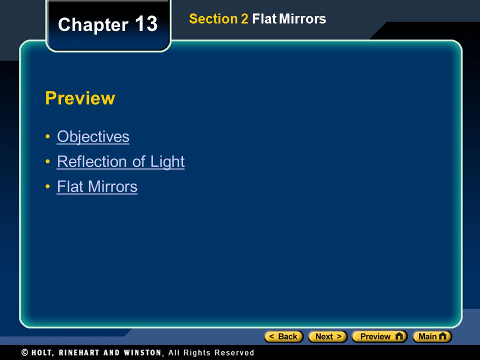 Chapter 13 Preview Objectives Reflection of Light Flat Mirrors