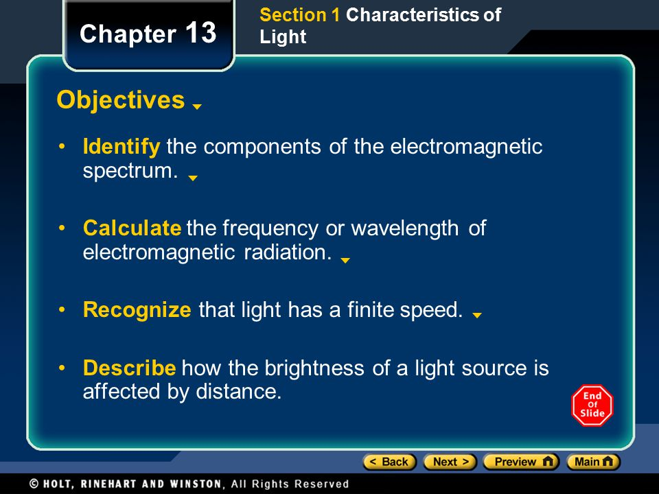 Section 1 Characteristics of Light