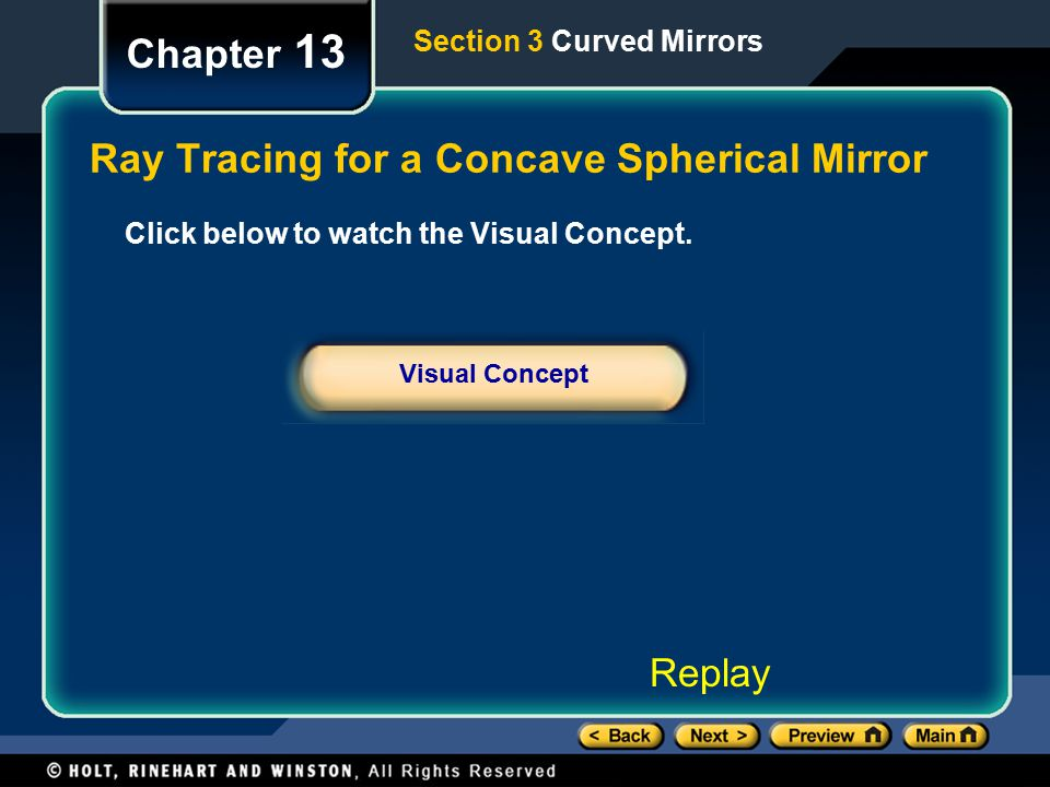 Ray Tracing for a Concave Spherical Mirror