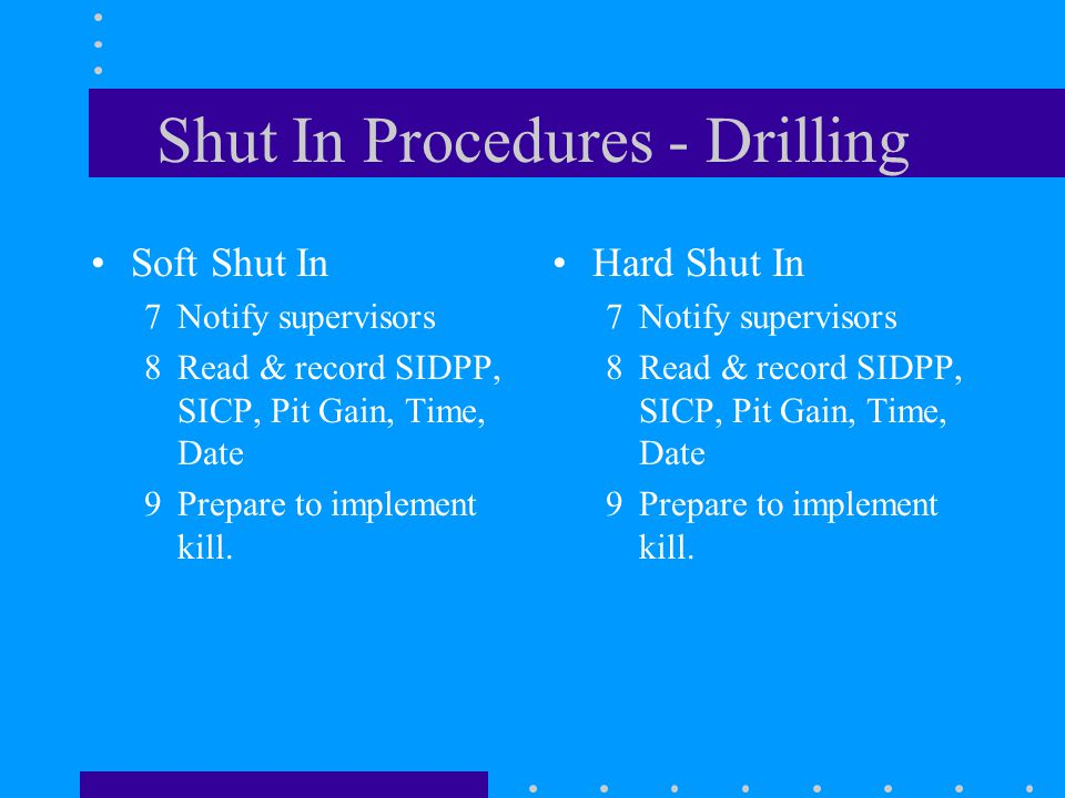 Shut In Procedures - Drilling