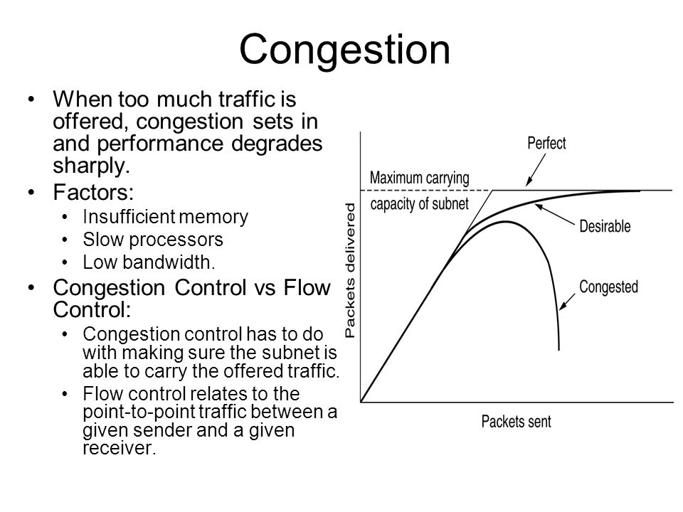 Congestion When too much traffic is offered, congestion sets in and performance degrades sharply. Factors: