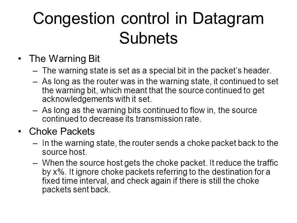 Congestion control in Datagram Subnets