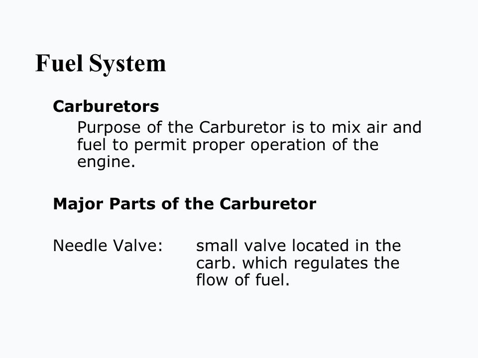 Fuel System Carburetors