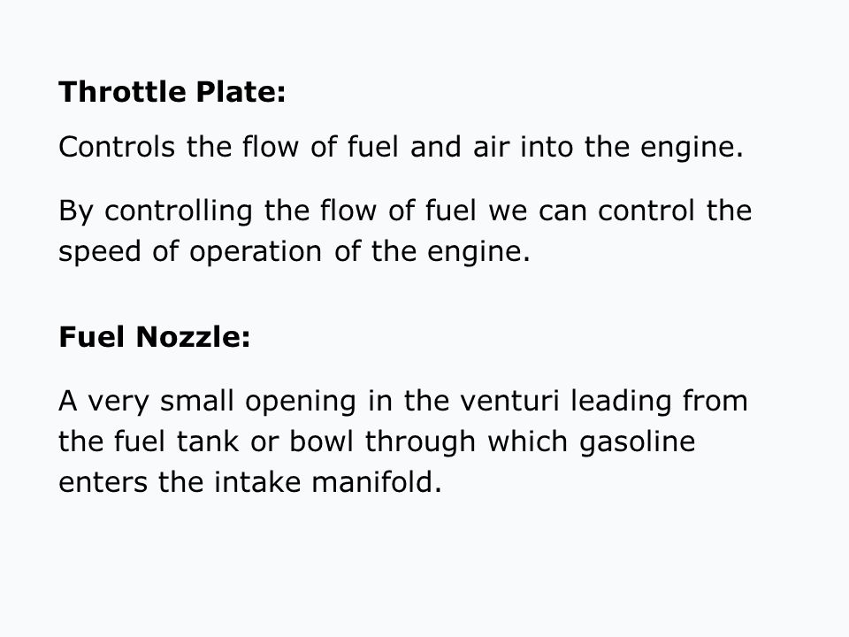 Throttle Plate: Controls the flow of fuel and air into the engine.