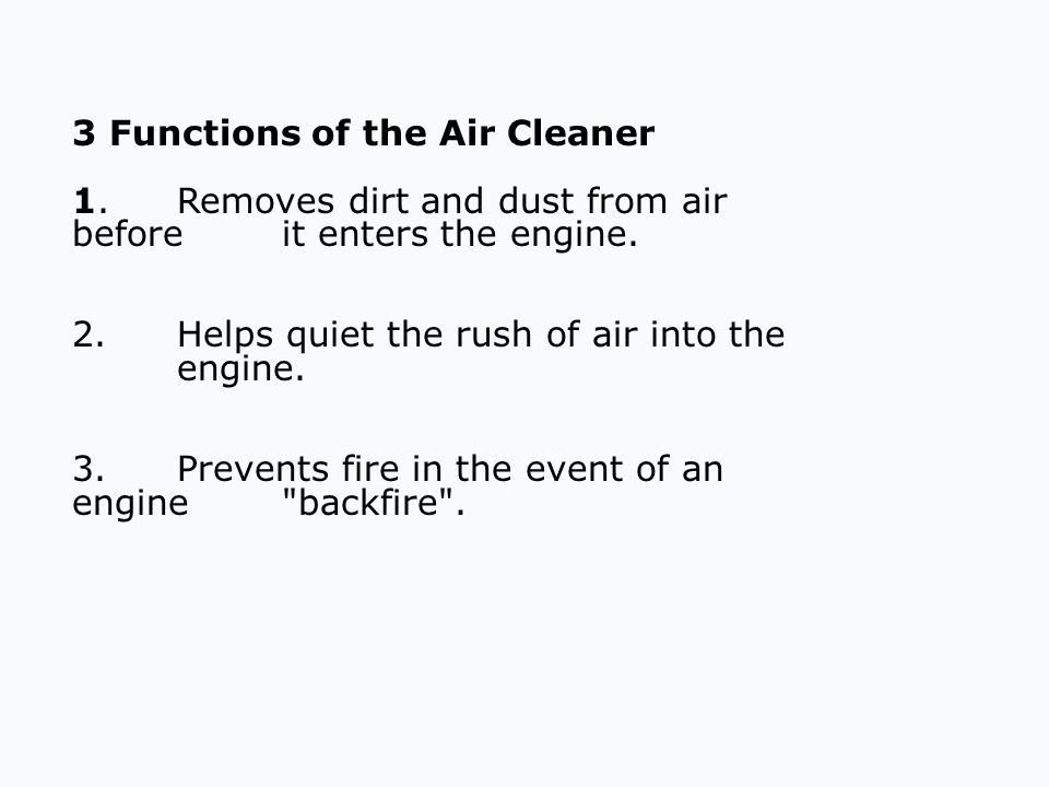 3 Functions of the Air Cleaner