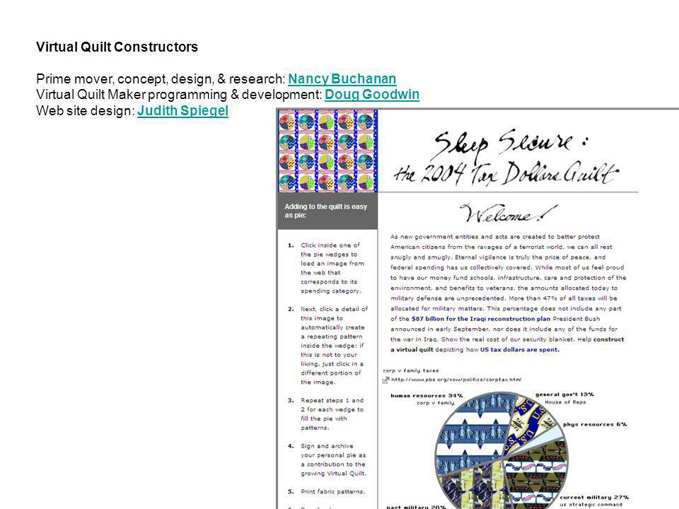 Virtual Quilt Constructors Prime mover, concept, design, & research: Nancy Buchanan
