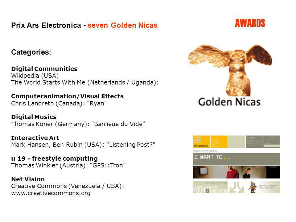 AWARDS Prix Ars Electronica - seven Golden Nicas Categories: