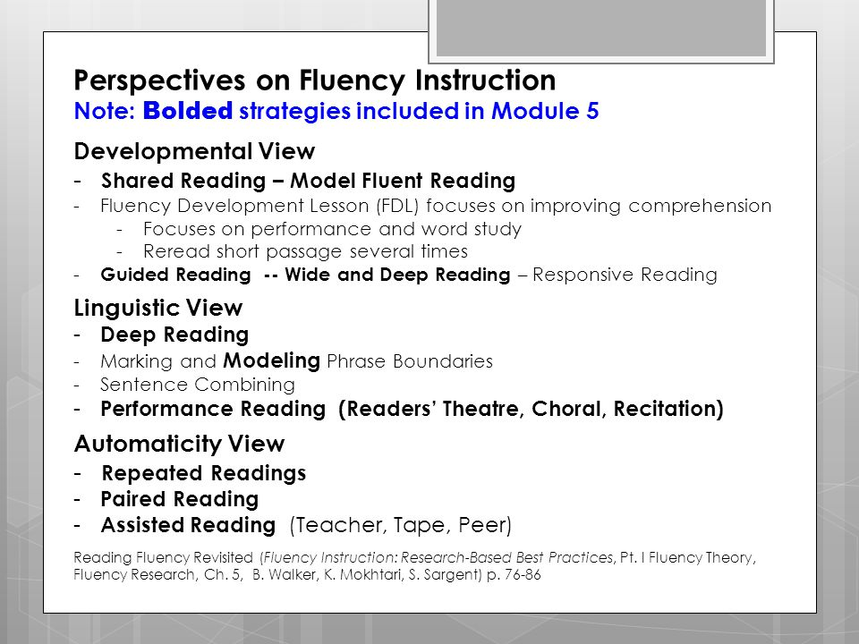 Literacy In Action Module 5 Reading Fluency And Ppt Download