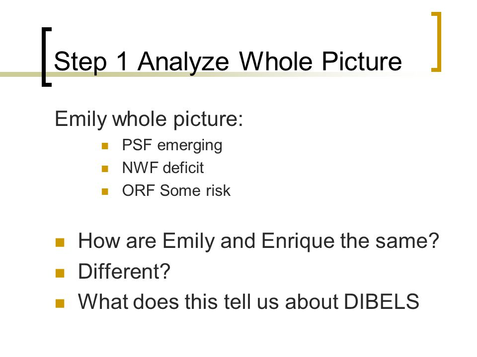 Step 1 Analyze Whole Picture