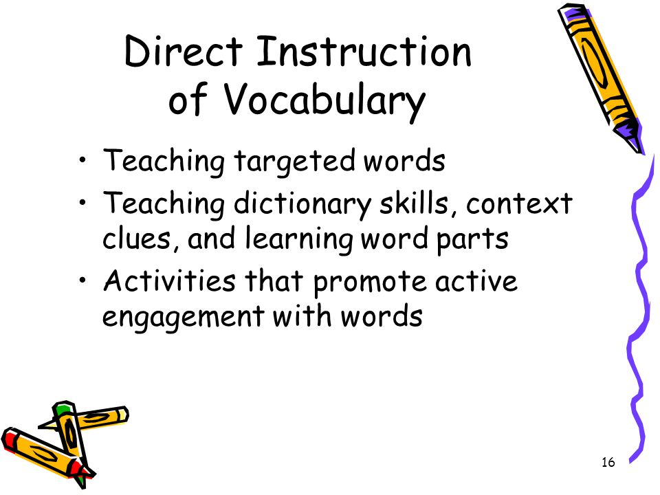 Direct Instruction of Vocabulary