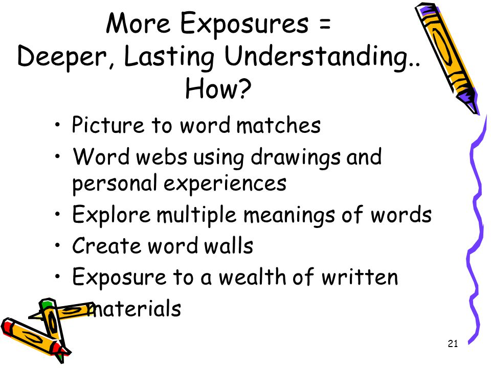 More Exposures = Deeper, Lasting Understanding.. How