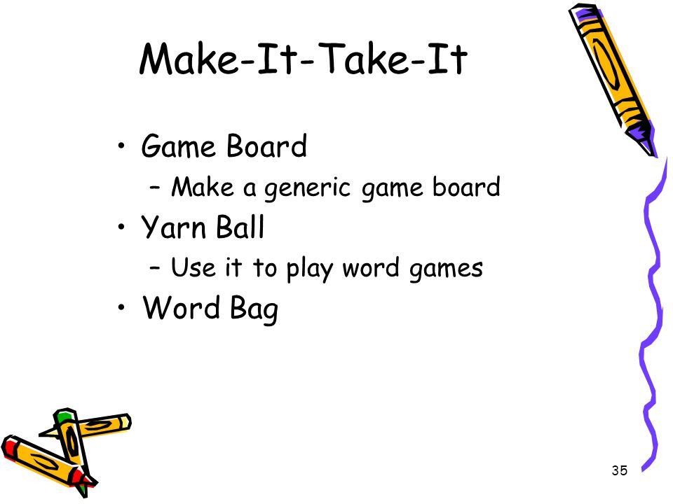 Make-It-Take-It Game Board Yarn Ball Word Bag