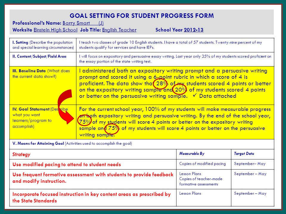 essay on goal setting for students