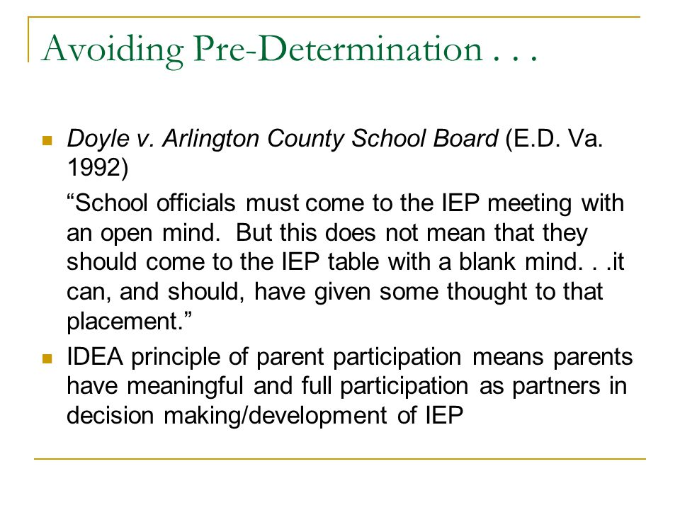 Predetermination In Iep Meeting >> The Contentious Iep Meeting Ppt Video Online Download
