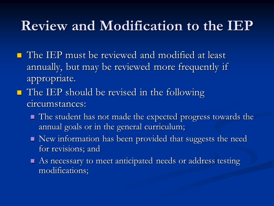 Review and Modification to the IEP