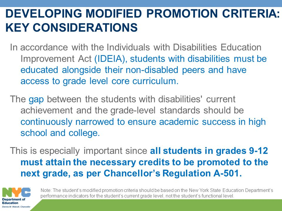 Promotion Criteria Guidelines for Students with Disabilities