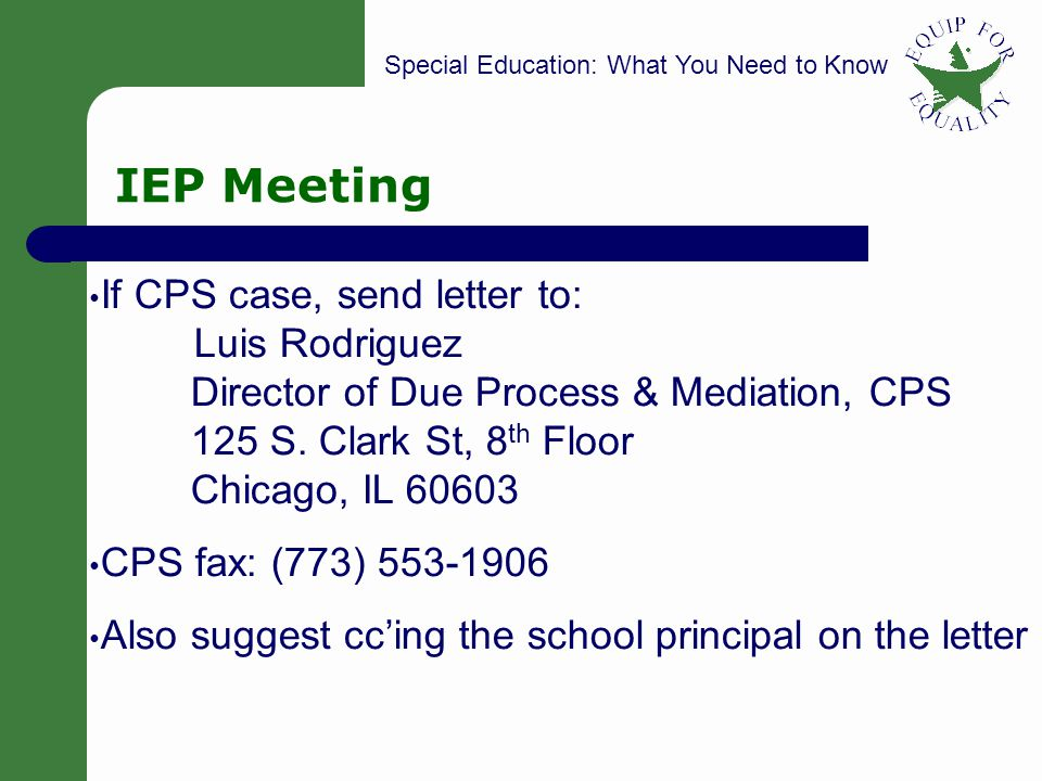 SPECIAL EDUCATION: Pro Bono Representation at IEP Meetings - ppt