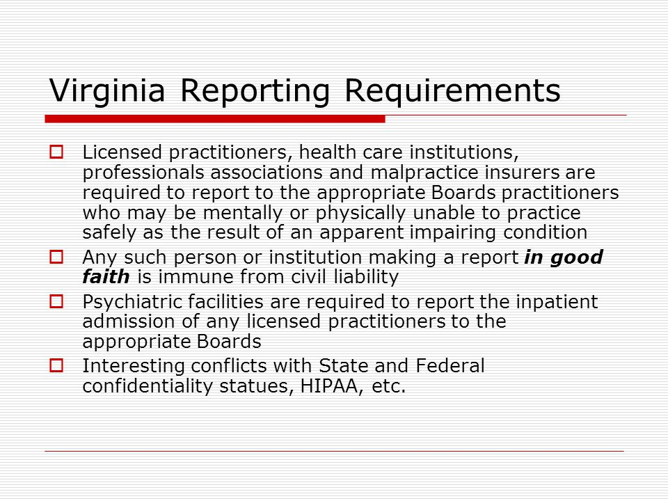 Virginia Reporting Requirements