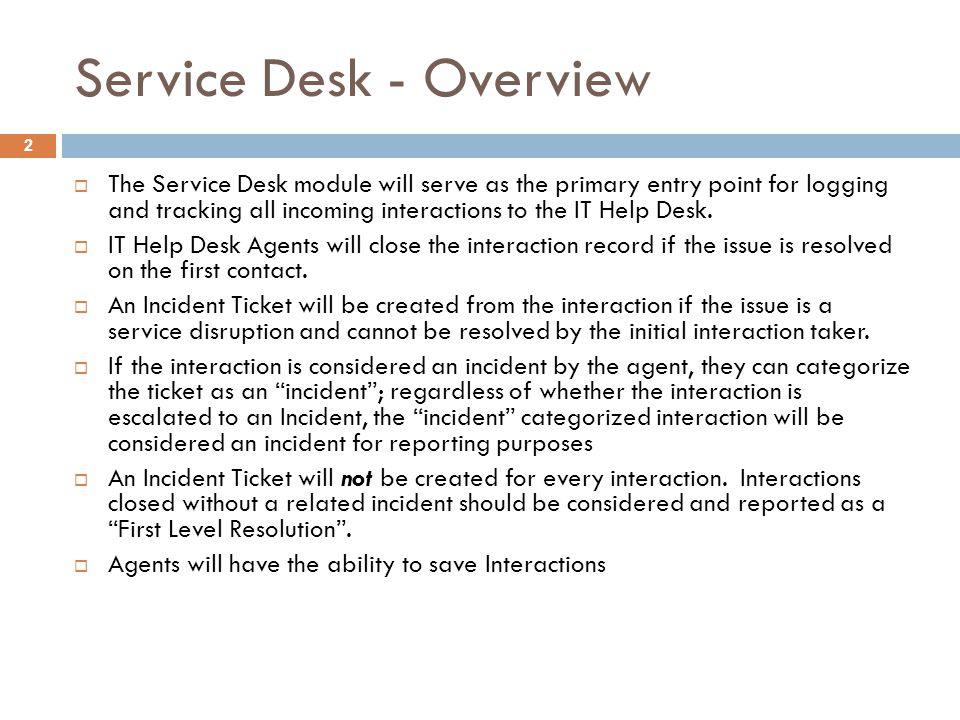 Service Desk - Overview