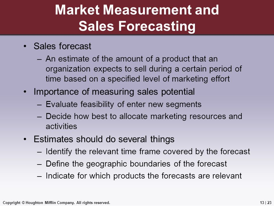 Market Measurement and Sales Forecasting
