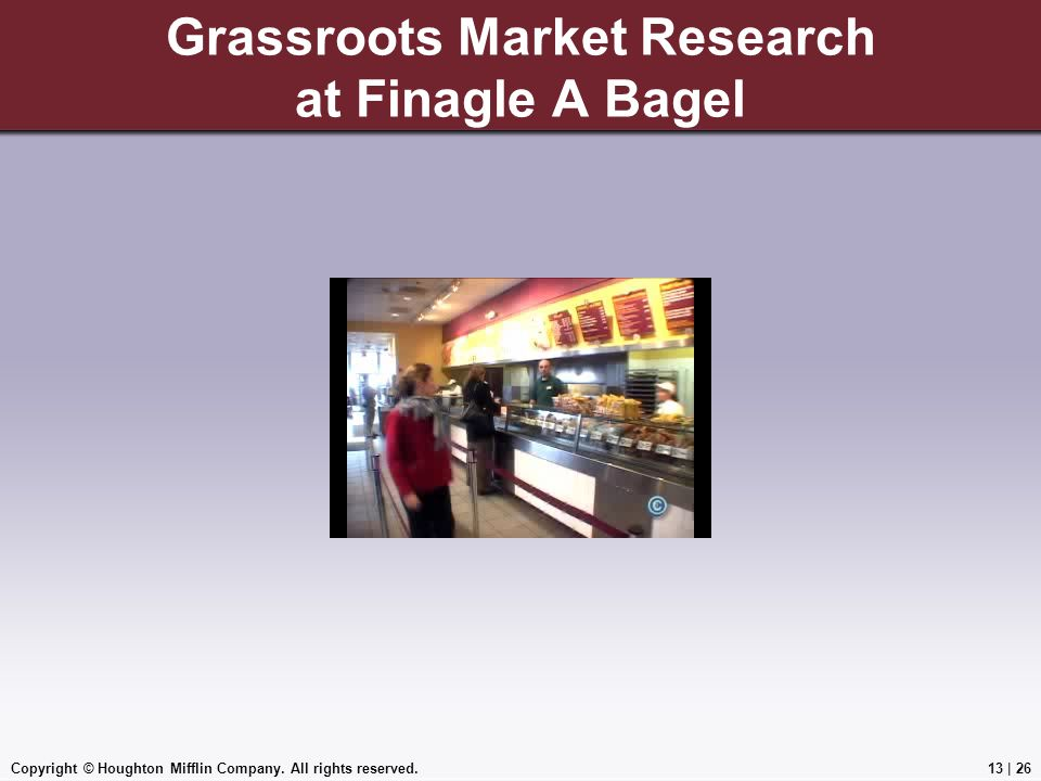 Grassroots Market Research at Finagle A Bagel