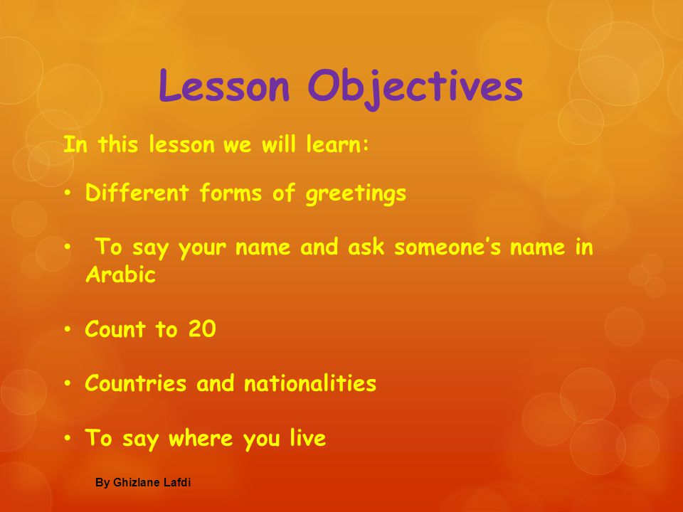 Introducing yourself in arabic ppt video online download 2 lesson objectives m4hsunfo
