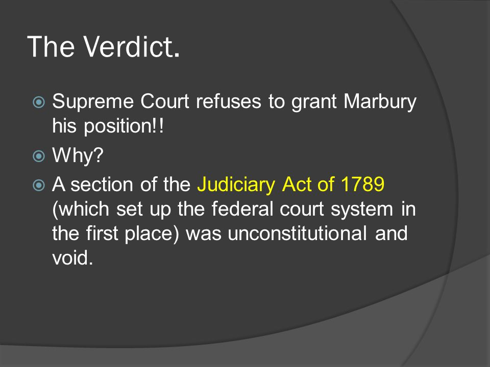 The Verdict. Supreme Court refuses to grant Marbury his position!!