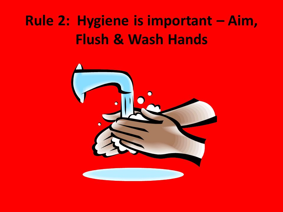 Rule 2: Hygiene is important – Aim, Flush & Wash Hands