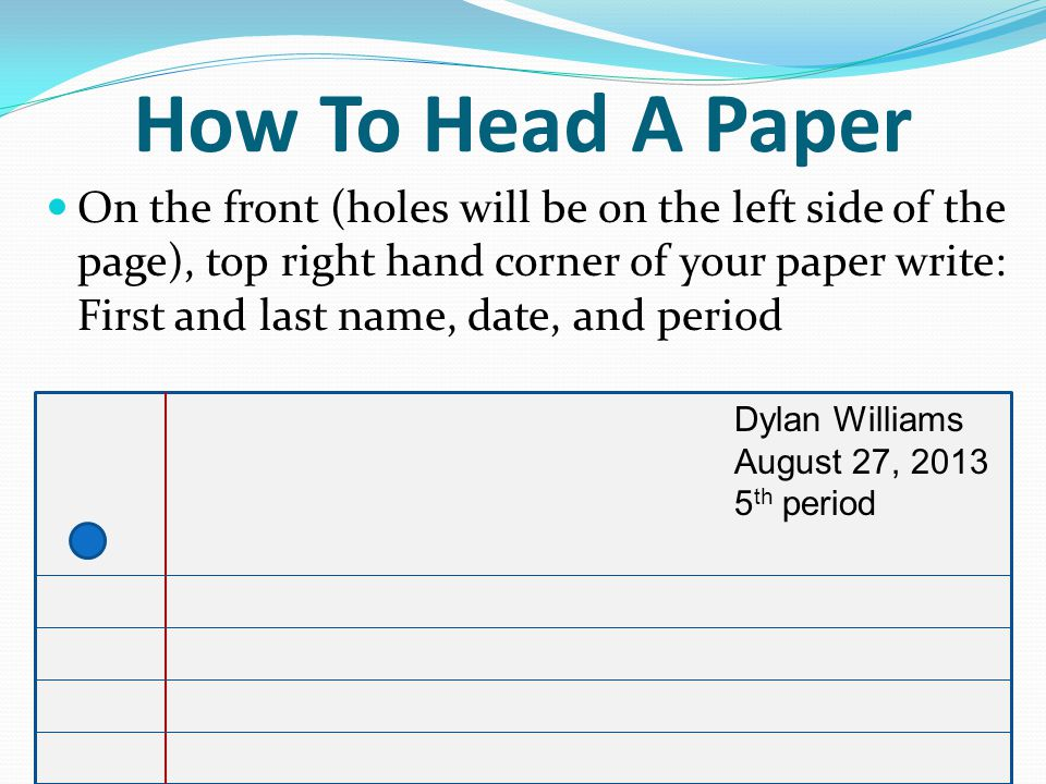 how to head your paper