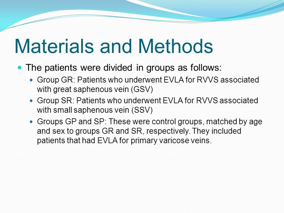 Materials and Methods The patients were divided in groups as follows:
