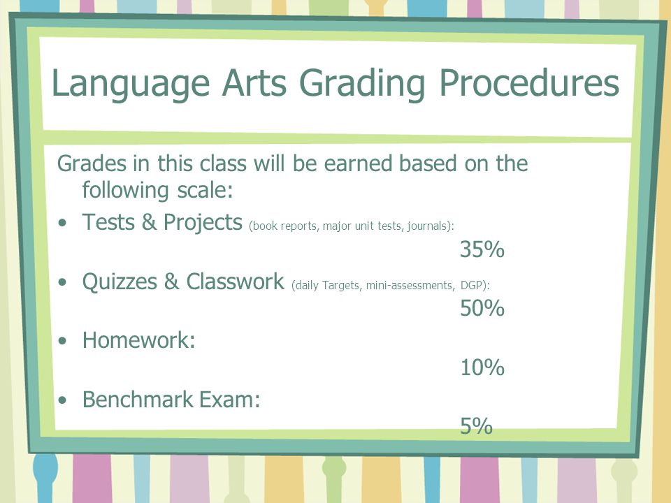 Language Arts Grading Procedures