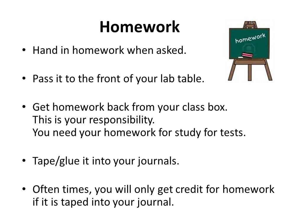 Homework Hand in homework when asked.