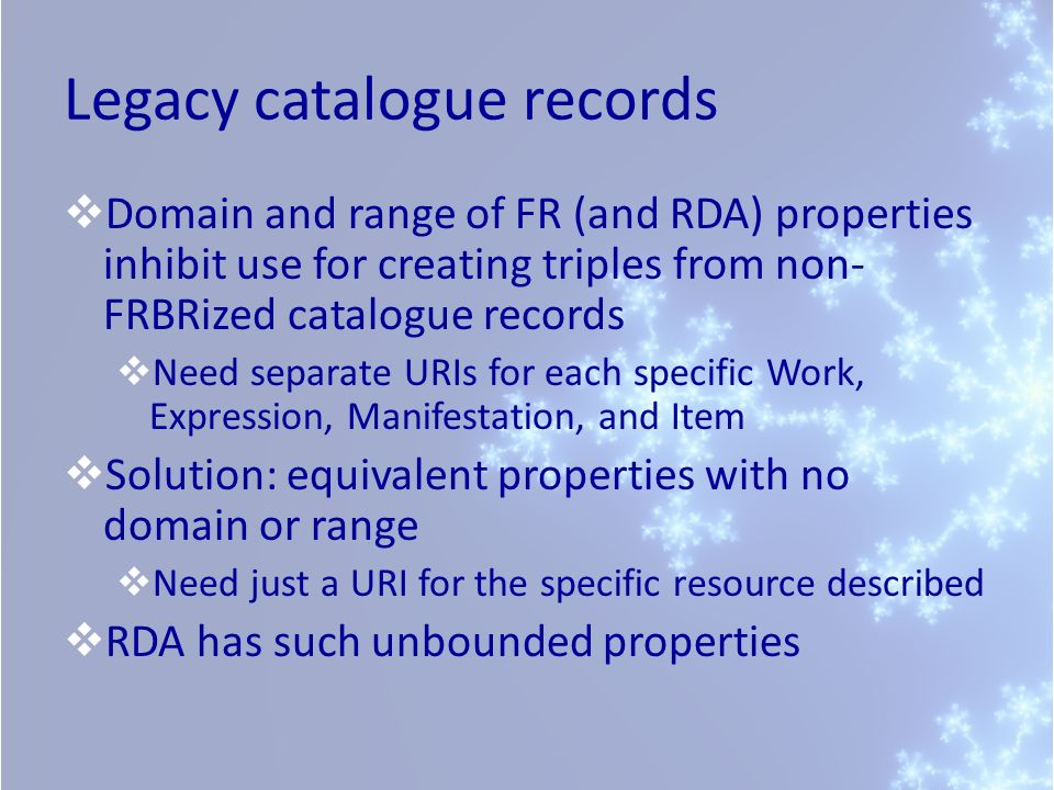Legacy catalogue records