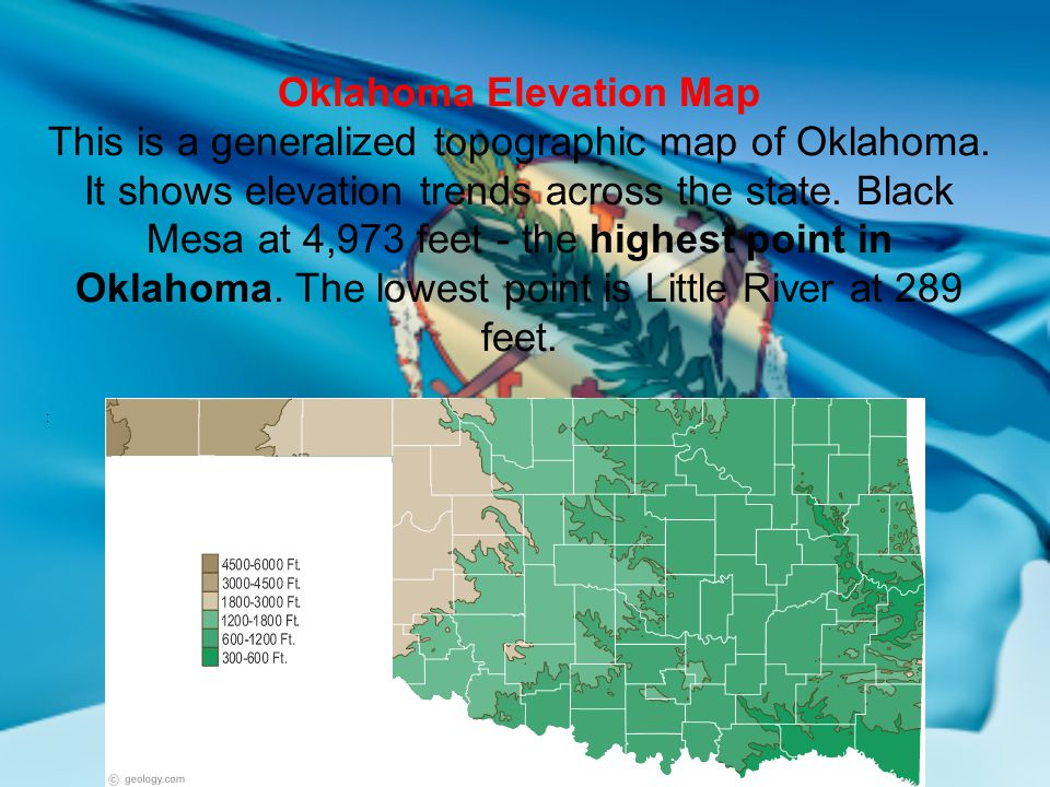 Oklahomas geographical regions ppt video online download 33 oklahoma elevation map publicscrutiny Choice Image