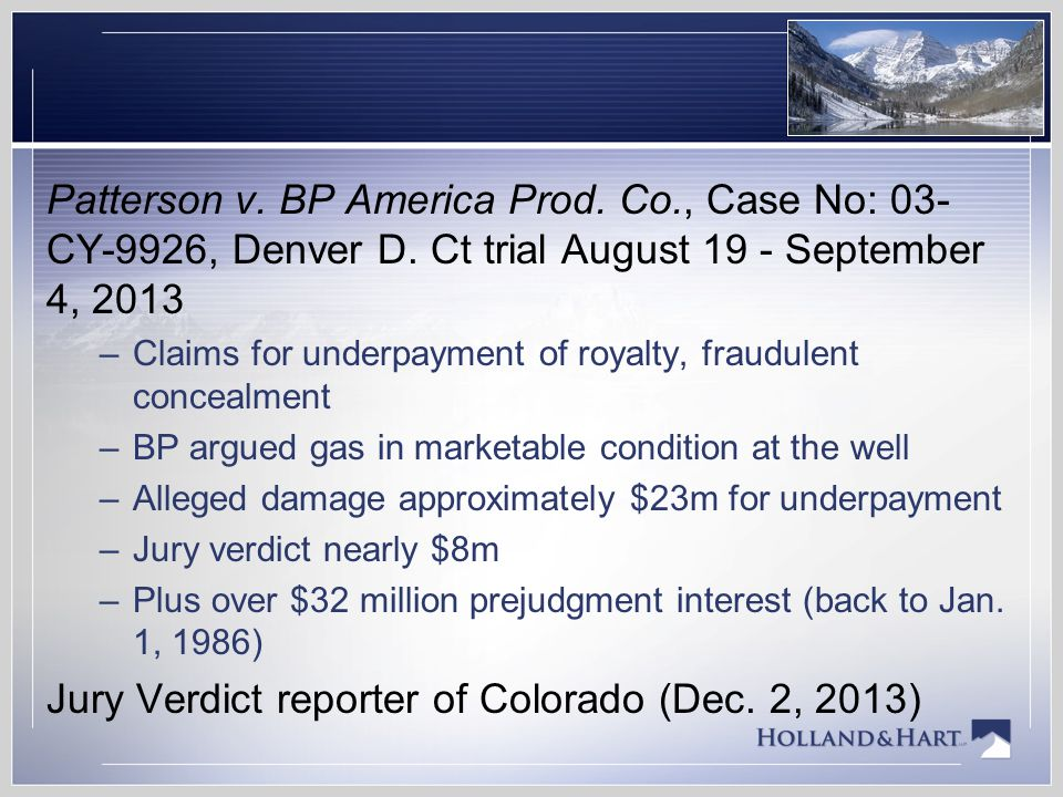 Colorado Gas Royalty Law At The Intersection Of Implied Covenants