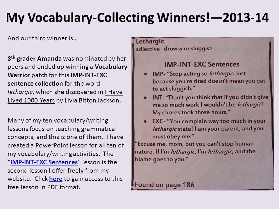 My Vocabulary-Collecting Winners!— - ppt video online download