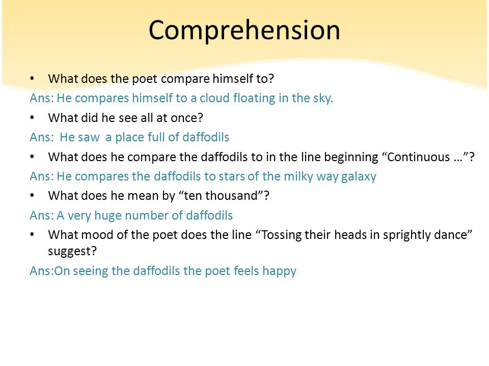 Poem The Daffodils English 9th Grade Ppt Video Online Download