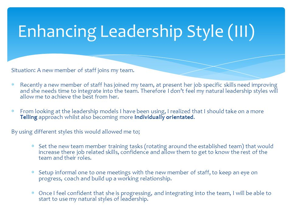 Enhancing Leadership Style (III)